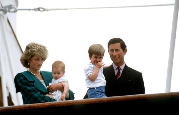 Prince Charles and Princess Diana with Prince William And Prince Harry On The Royal Yacht  Britannia In Italy, undated picture. | Photo: Getty Images