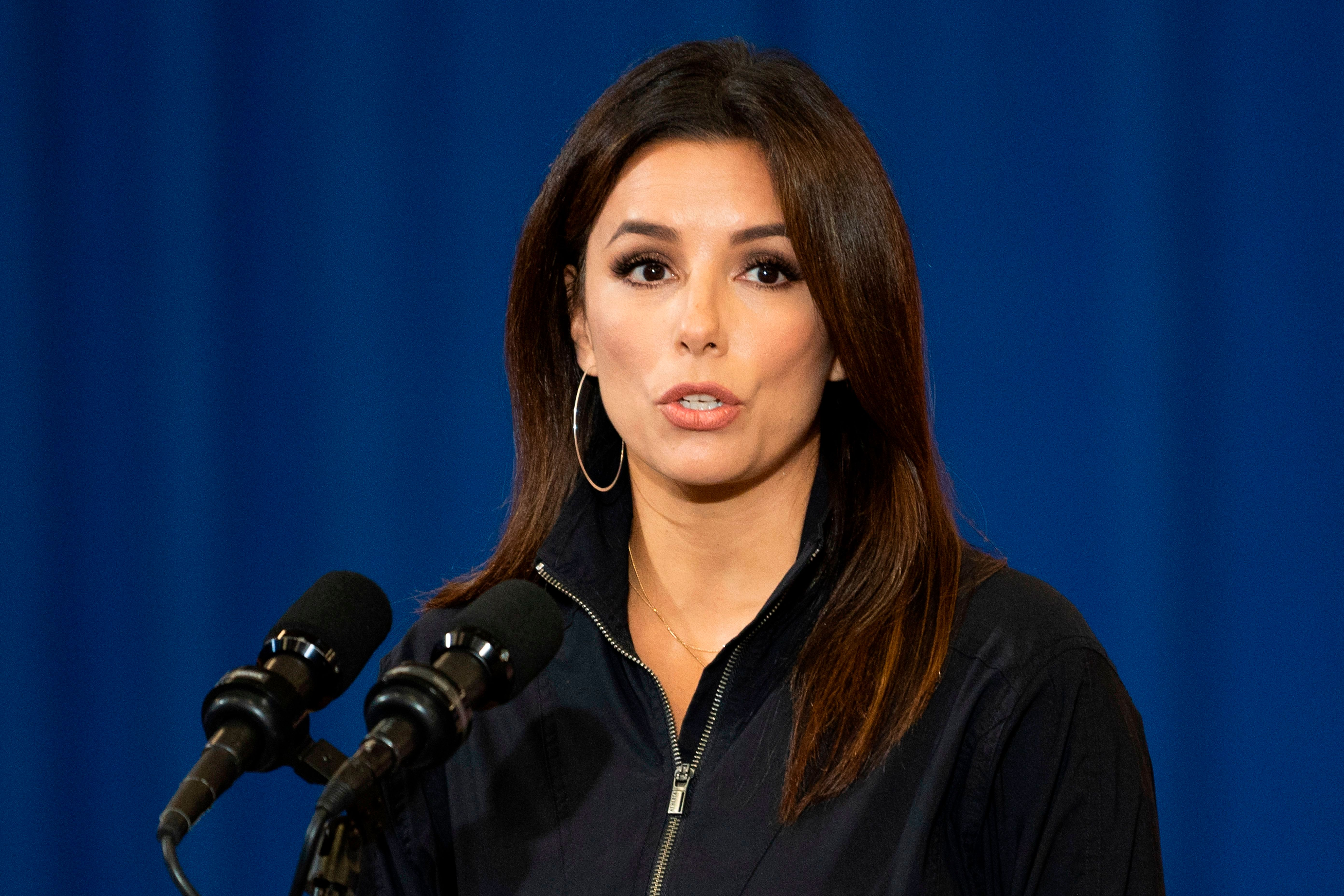 Eva Longoria, actress, activist, and Co-Founder of Latino Victory, speaks before Democratic Presidential Candidate Joe Biden as they participate in a Hispanic Heritage Month event at the Osceola Heritage Park in Kissimmee, Florida on September 15, 2020 | Photo: Getty Images