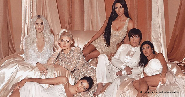 Kardashian Sisters Celebrate Easter Together Braless in Matching Cream Silk Dresses