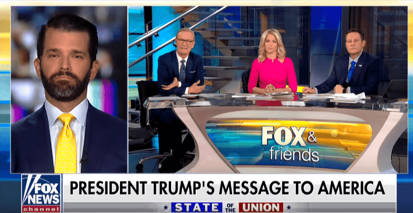 """Donald Trump Jr. speaking on """"Fox & Friends"""" about his father's State of Union speech. 