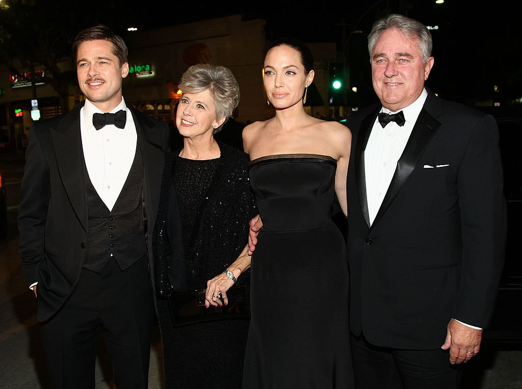 """Brad Pitt with his parents and Angelina Jolie at the premiere of Paramount's """"The Curious Case Of Benjamin Button"""" held at Mann's Village Theatre on Decemeber 8, 2008 in Westwood, California.   Photo: Getty Images"""