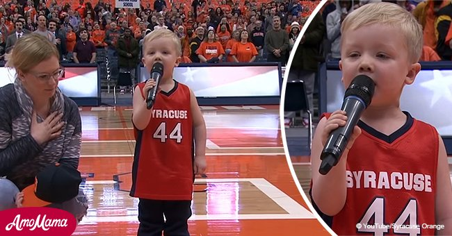 3-year-old boy charms crowd with his amazing singing of the national anthem