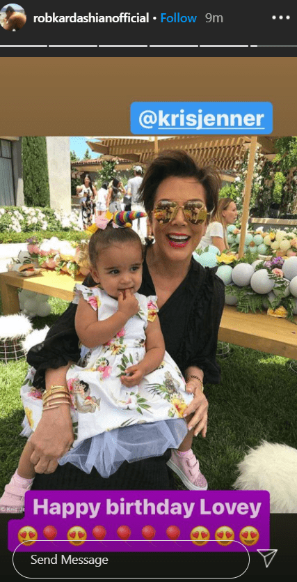 Dream sitting on her grandmother Kris Jenner's lap at a party   Photo: Instagram/robkardashianofficial