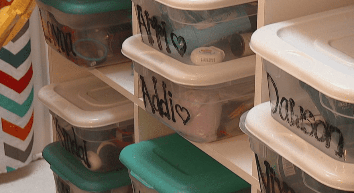 Terri provided each of her kids with their own container to help keep their personal items separate | Photo: ABC