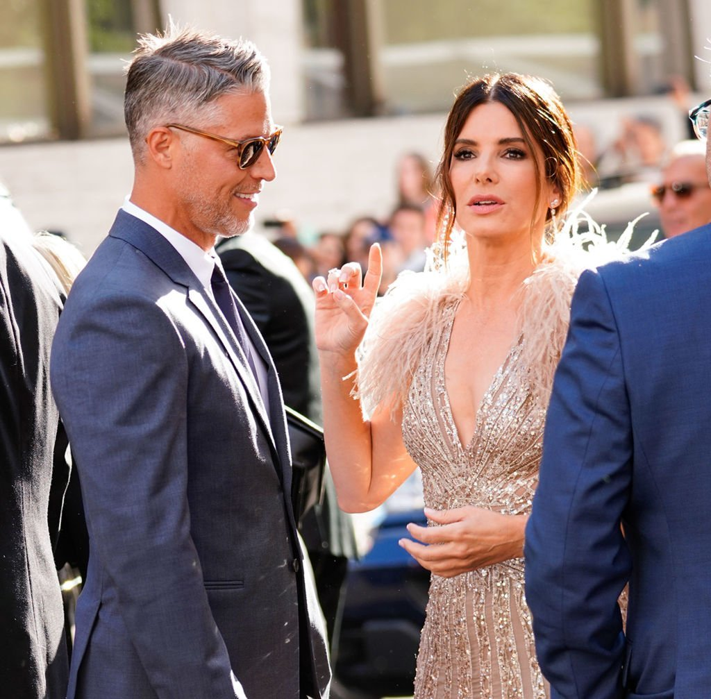 "Sandra Bullock and Bryan Randall are seen at the ""Oceans 8"" world premiere on June 5, 2018  