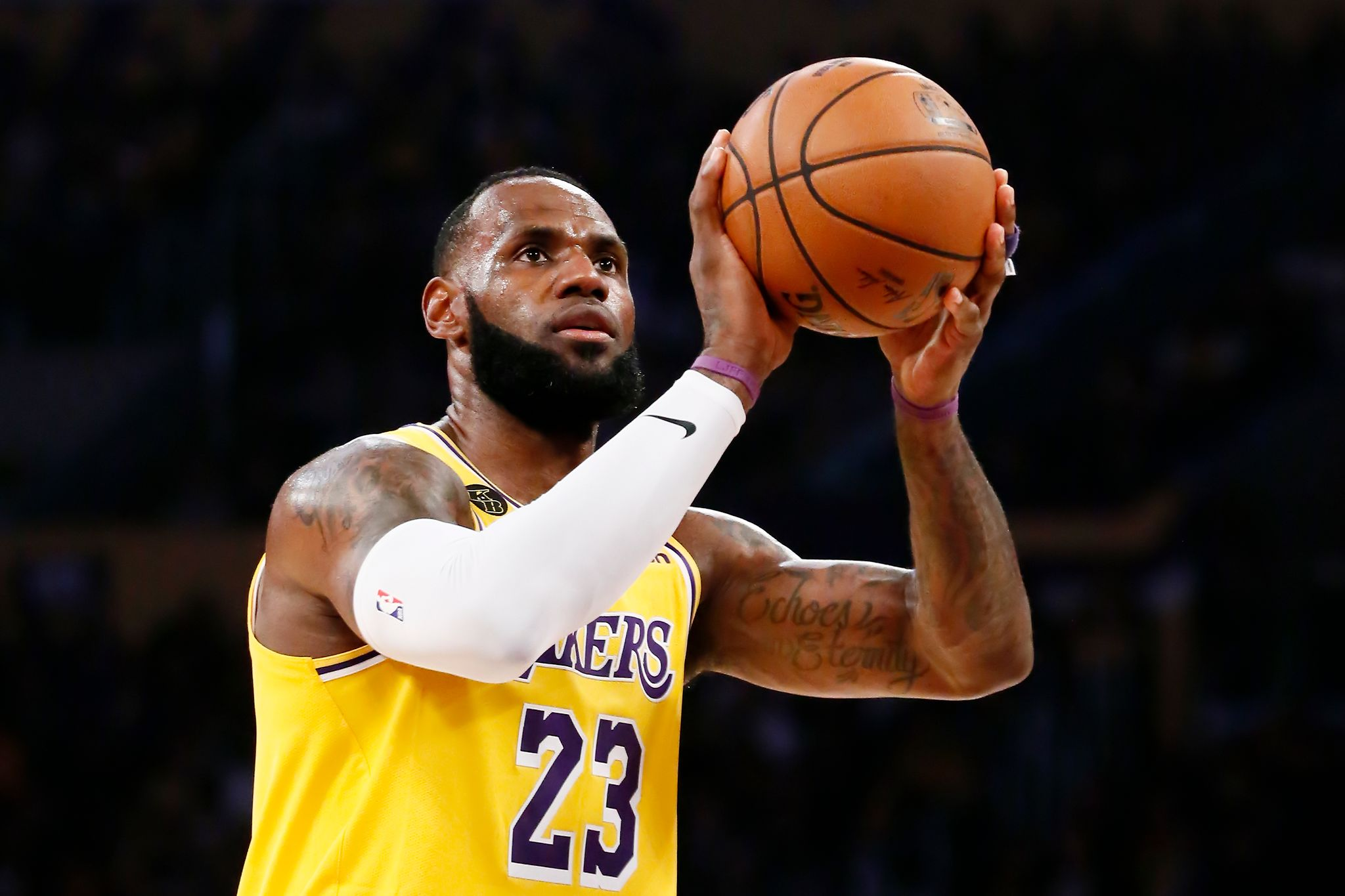 LeBron James #23 of the Los Angeles Lakers is seen at the free throw line during a game against the Brooklyn Nets at the Staples Center on March 10, 2020 in Los Angeles, CA.  | Photo: Getty Images