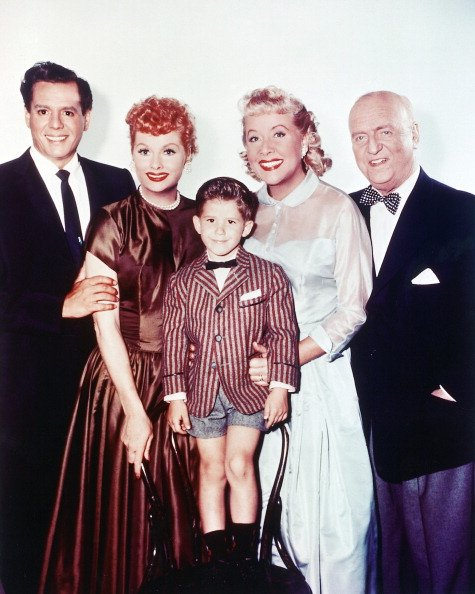 """Lucille Ball, Keith Thibodeaux, Vivian Vance, and William Frawley in a group studio portrait for the TV series, """"I Love Lucy,"""" circa 1955. 