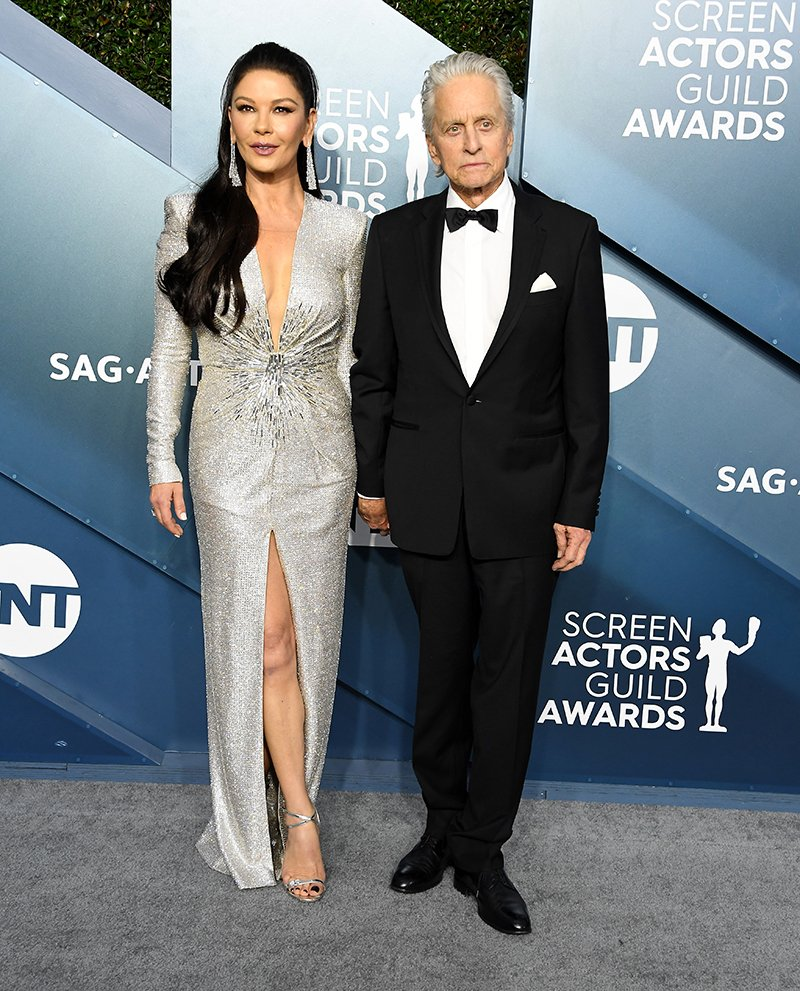 Catherine Zeta-Jones and Michael Douglas arriving at the 26th Annual Screen Actors Guild Awards in Los Angeles, California in January 2020. I Image: Getty Images.