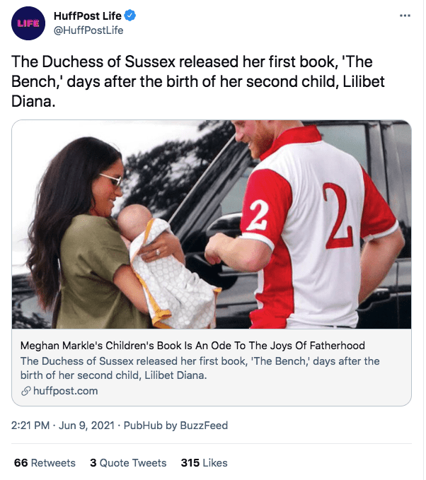 A screenshot of Meghan Markle, Prince Harry and their son | Photo: twitter.com/HuffPost Life