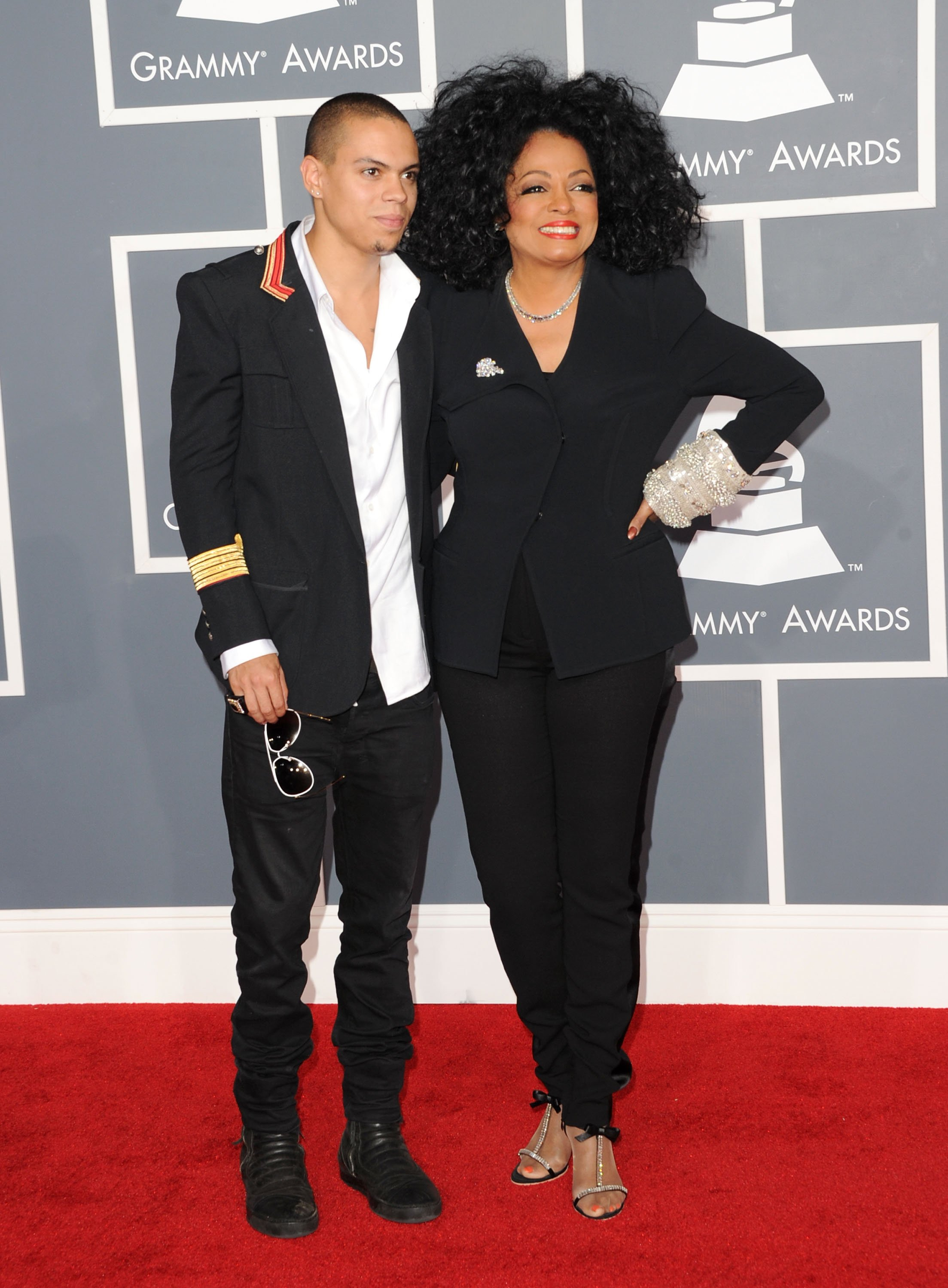 Diana Ross (R) and son Evan Ross at the 54th Annual GRAMMY Awards held at Staples Center on February 12, 2012 in Los Angeles, California. | Source: Getty