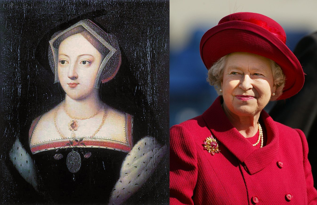 Mary Boleyn and Queen Elizabeth II. Image: Wikimedia Commons/ Getty Images.