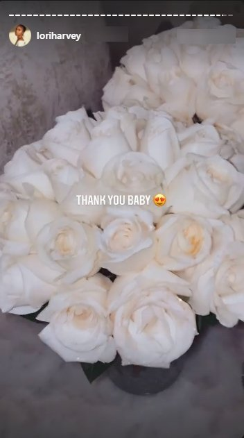 Screenshot of a photo of white roses gifted to Lori Harvey on her birthday. Source: Instagram/loriharvey