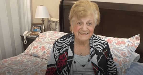 90-year-old Anna Fortunato back home after recovering from the novel coronavirus.   Source: YouTube/ Associated Press.