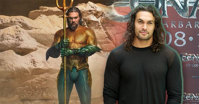 """Actor Jason Momoa wearing the """"Aquaman"""" green and gold costume, the next photo shows him attending """"Conan The Barbarian"""" photocall at the Villamagna Hotel on July 18, 2011 in Madrid, Spain   Photo: Getty Images and Instagram/@prideofgypsies"""