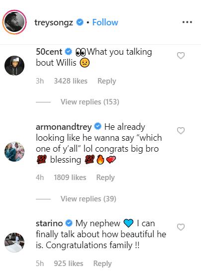 Screenshot of comments on Trey Songz' Instagram announcement. | Photo: Instagram/Trey Songz
