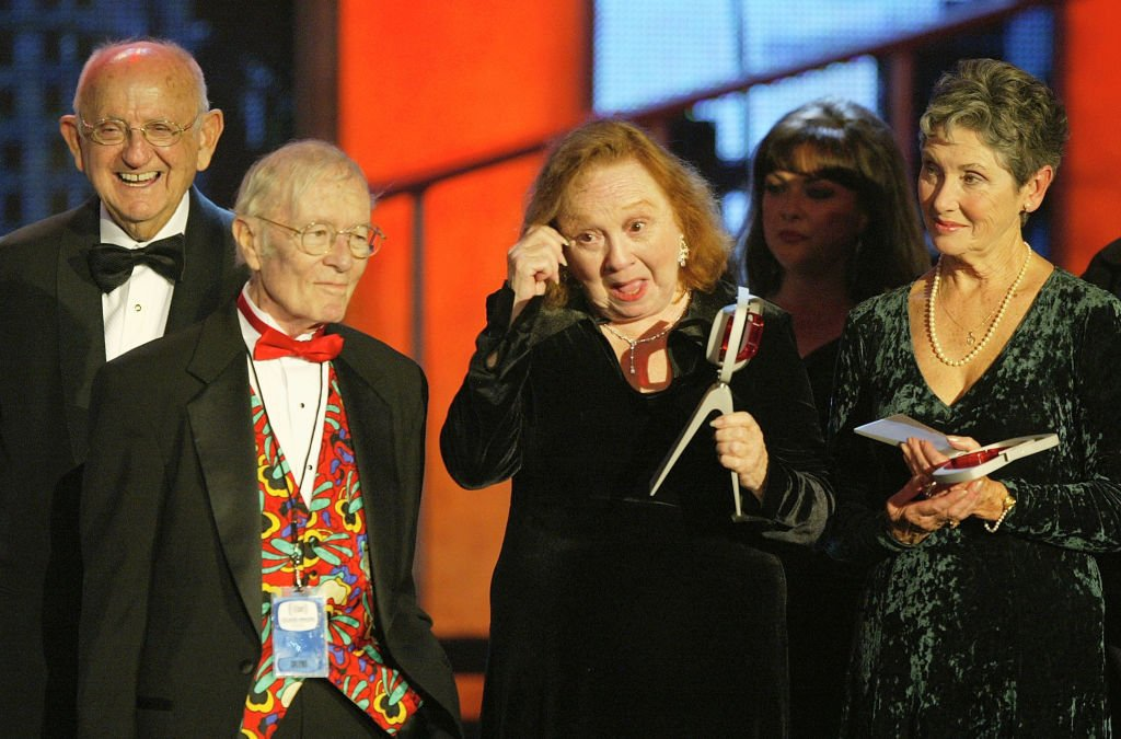 """Betty Lynn and the cast of """"The Andy Griffith Show""""on stage at the 2nd Annual TV Land Awards held on March 7, 2004   Photo: GettyImages"""