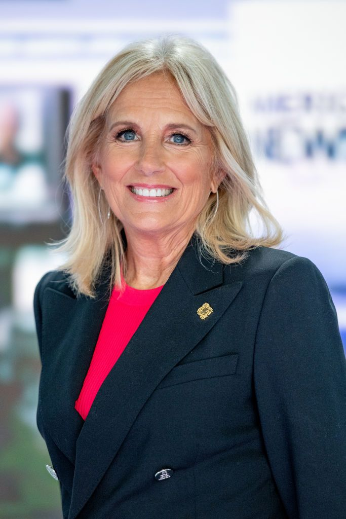 "Jill Biden discusses the ""Walk of America"" as she visits ""America's Newsroom"" at Fox News Channel Studios on September 6, 2018. 