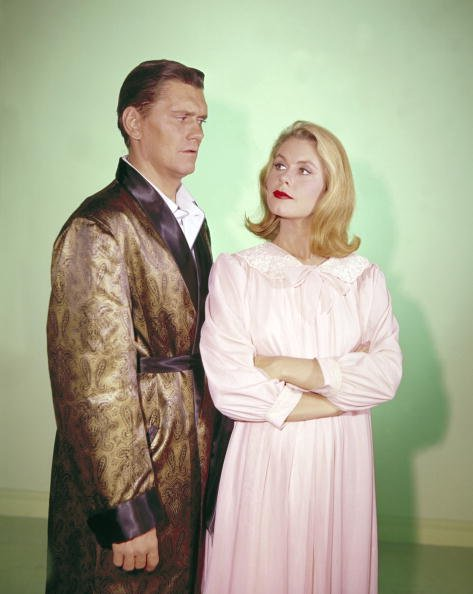 "A publicity portrait of Dick York and Elizabeth Montgomery issued for television series, ""Bewitched,"" circa 1964. 