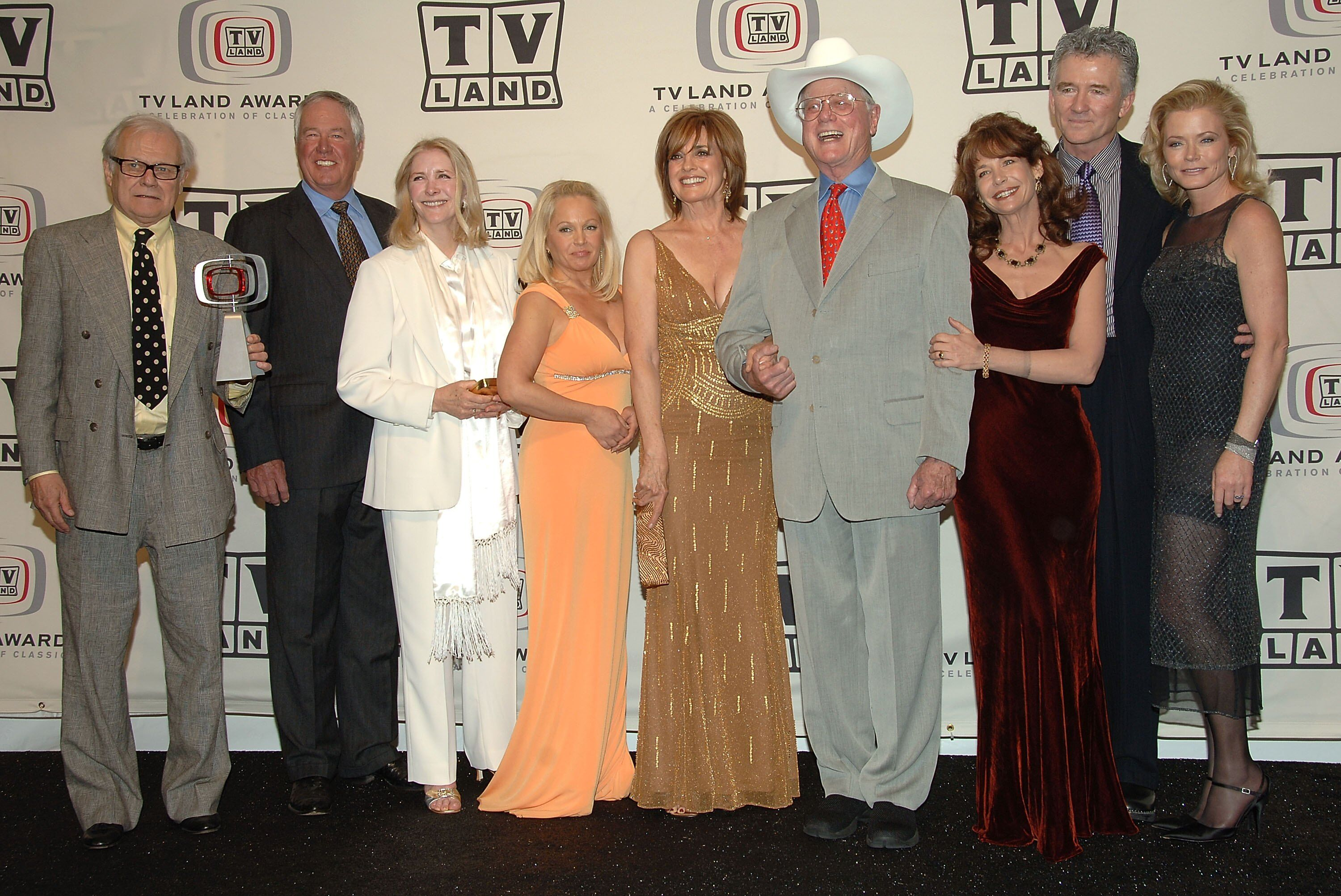 "Ken Kercheval, Steve Kanaly, Susan Howard, Charlene Tilton, Linda Gray, Larry Hagman, Mary Crosby, Patrick Duffy and Sheree J. Wilson of ""Dallas."" 