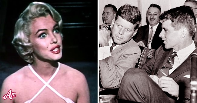 Marilyn Monroe (links) und JFK (rechts).   Quelle: Getty Images  YouTube/Movieclips Classic Trailers