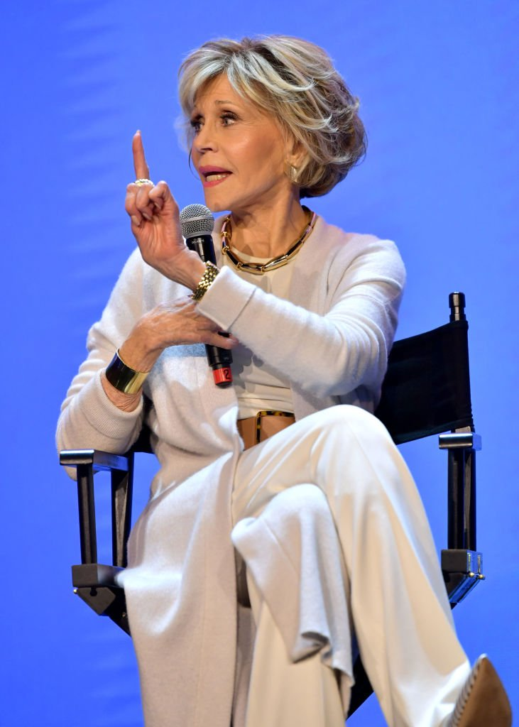 """Jane Fonda speaks onstage at the Netflix FYSEE """"Grace and Frankie"""" ATAS Official Red Carpet and Panel at Raleigh Studios 