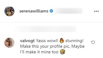 A fan's comment on Serena Williams's picture in a crop top and tight pants. | Source: Instagram/Serenawilliams