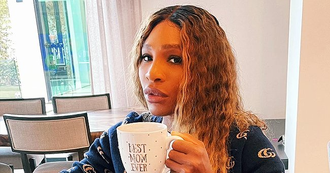 Serena Williams Looks Cute Relaxing at Home in a Gucci Sweater While Holding a Personalized Mug