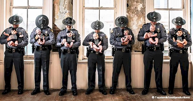 Sweet photos of police officers' babies who were born around the same time went viral in 2018