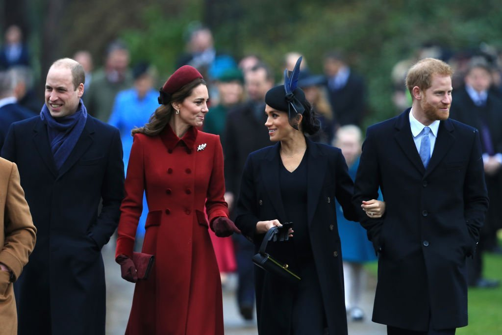 Prince William, Kate Middleton, Meghan Markle, and Prince Harry arrive to attend Christmas Day Church service at Church of St Mary Magdalene on the Sandringham estate. | Photo: Getty Images