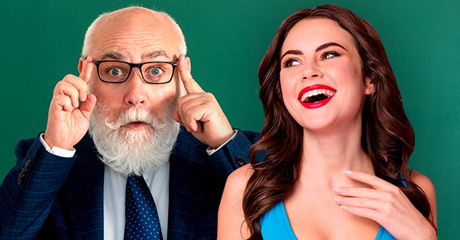 An older man adjusts his glasses, while a young woman laughs. | Photo: Shutterstock