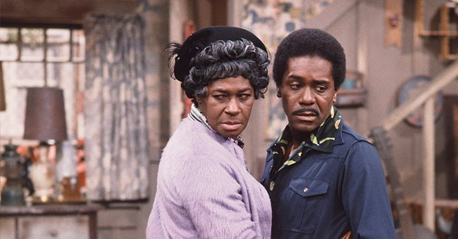 "Lawanda Page as Aunt Esther Anderson, Demond Wilson as Lamont Sanford on ""Sanford and Son"" 