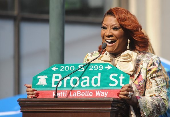 "Patti LaBelle reacts after a stretch of Broad Street, between Locust and Spruce Streets, was renamed ""Patti LaBelle Way"" during a ceremony in Philadelphia.