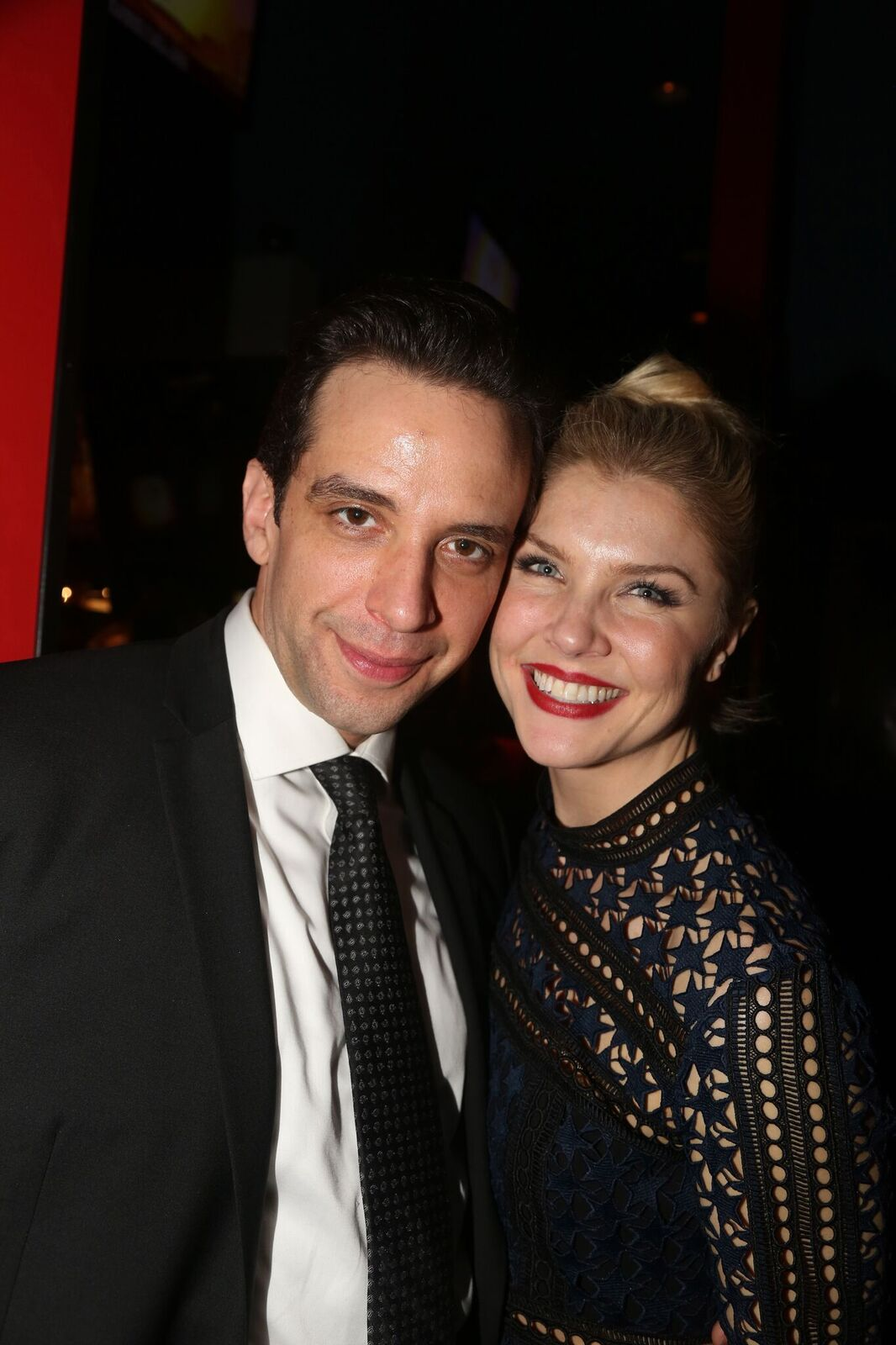 "Nick Cordero and Amanda Kloots at the after-party for the Broadway Series ""Crazy For You"" on February 19, 2017, in New York City 