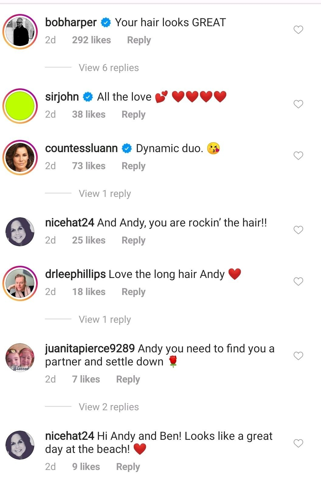 Comments under Andy Cohen's IG post. | Photo: Instagram/@Andycohen