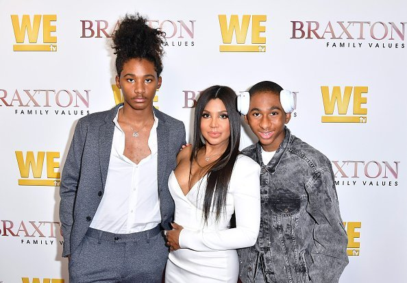"Diezel Ky Braxton-Lewis, Toni Braxton, and Denim Cole Braxton-Lewis at We TV celebrates the premiere of ""Braxton Family Values"" in West Hollywood, California.