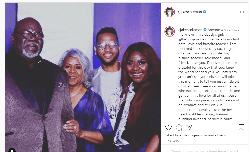 T.D Jakes daughter wishes him a happy birthday on Instagram | Photo: Instagram/cjakescoleman