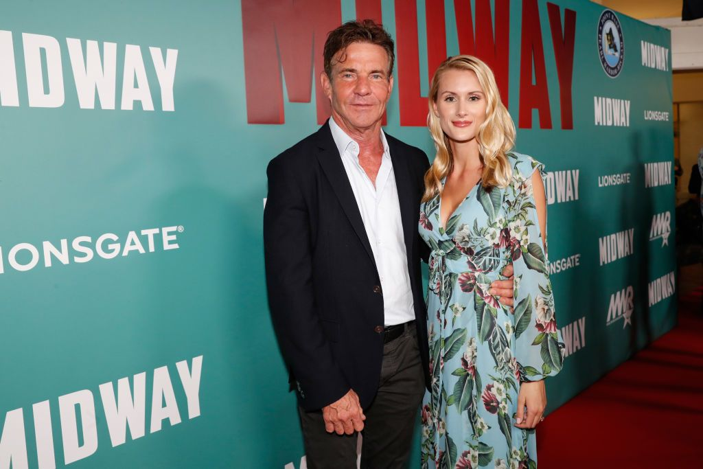 """Dennis Quaid and fiancee Laura Savoie at the """"Midway"""" Special Screening at Joint Base Pearl Harbor-Hickam on October 20, 2019 