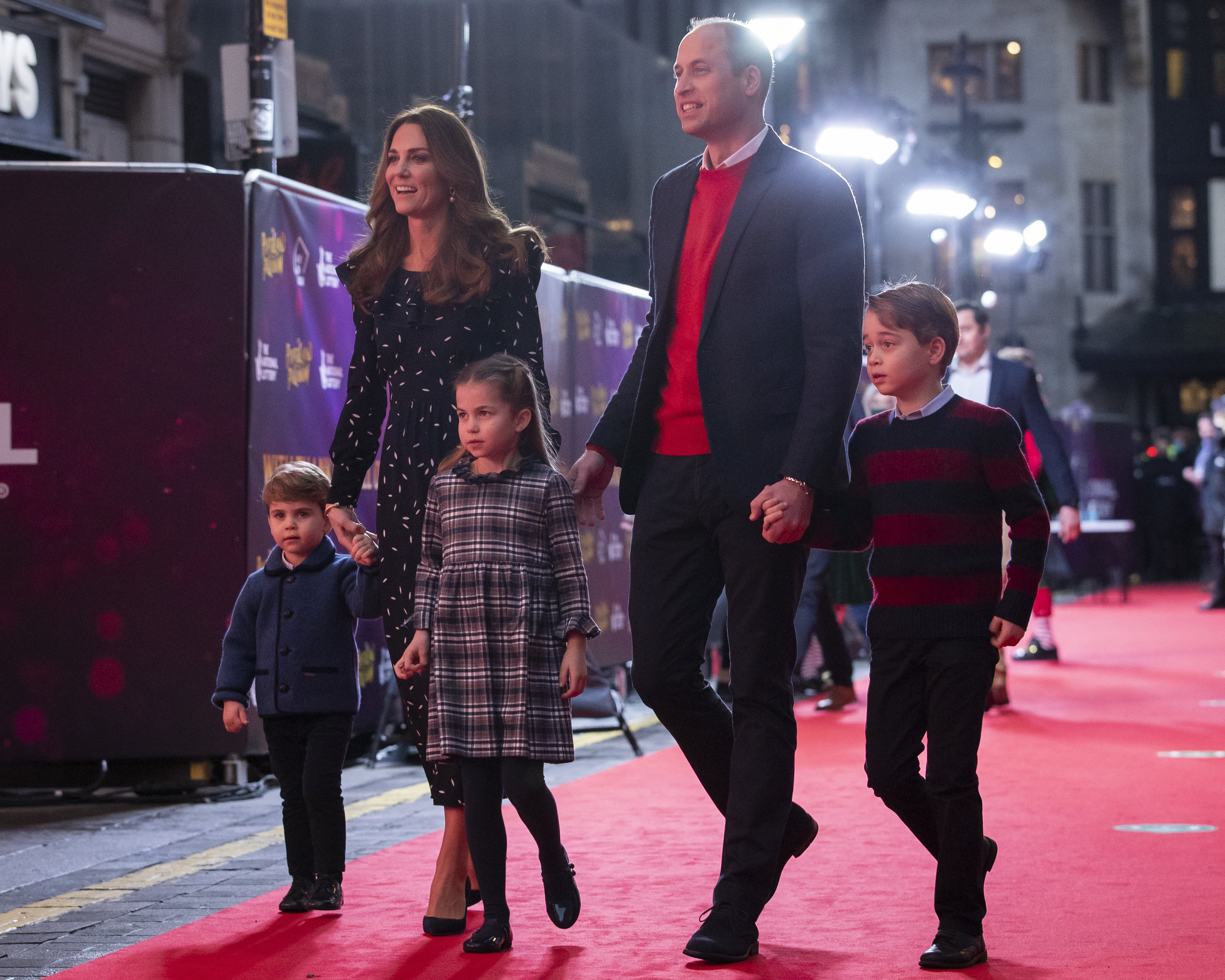 Prince William and Kate Middleton with their children, Prince Louis, Princess Charlotte and Prince George, at London's Palladium Theatre, on December 11, 2020 in London, England | Photo: Getty Images