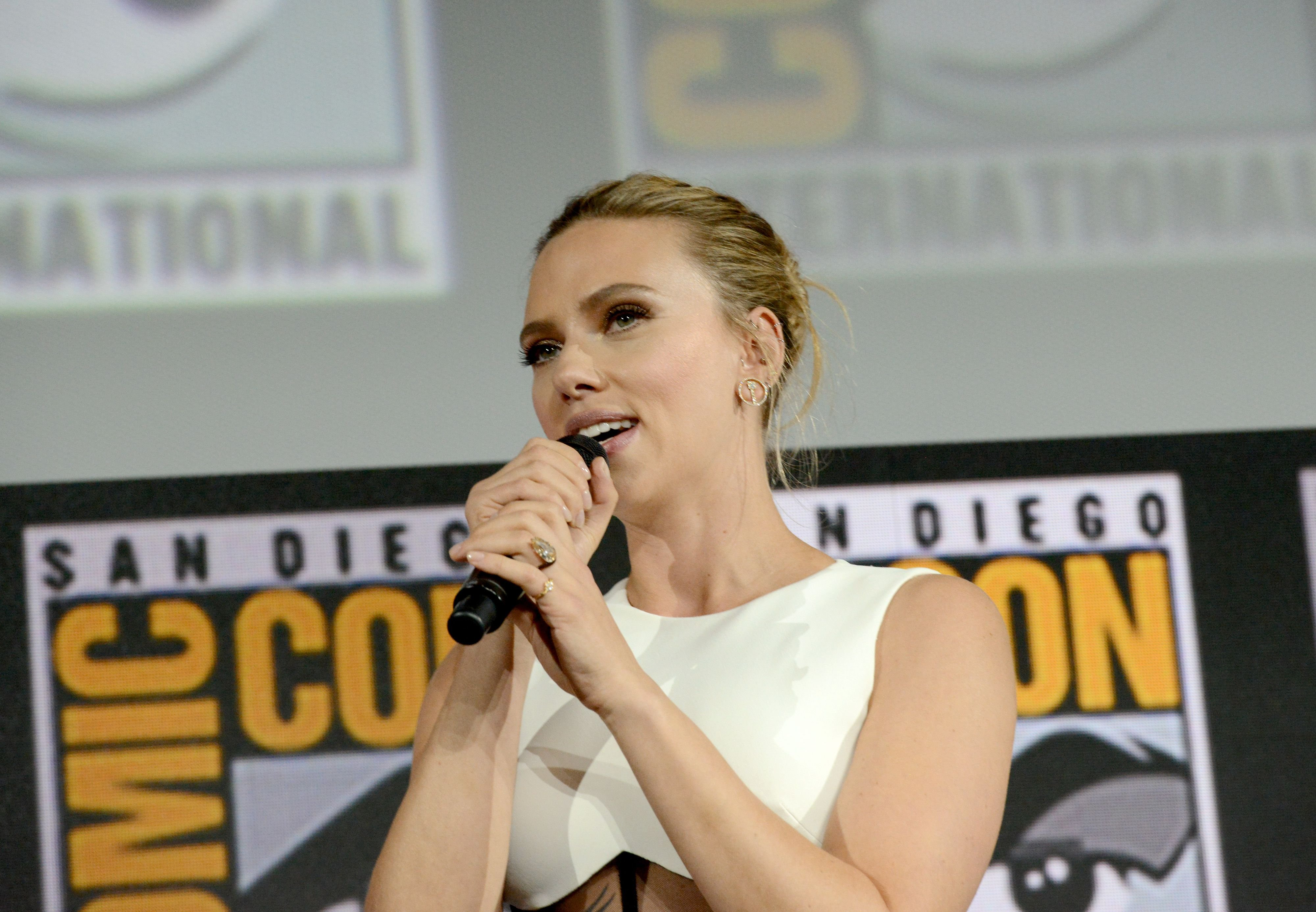 Scarlett Johansson spoke at the Marvel Studios Panel at 2019 Comic-Con International at San Diego Convention Center on July 20, 2019 | Photo: Getty Images
