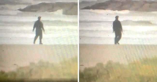 Eerie footage shows a man dressed in a Michael Myers costume as he walks on the beach before a storm makes landfall | Photo: Twitter/MycahABC13