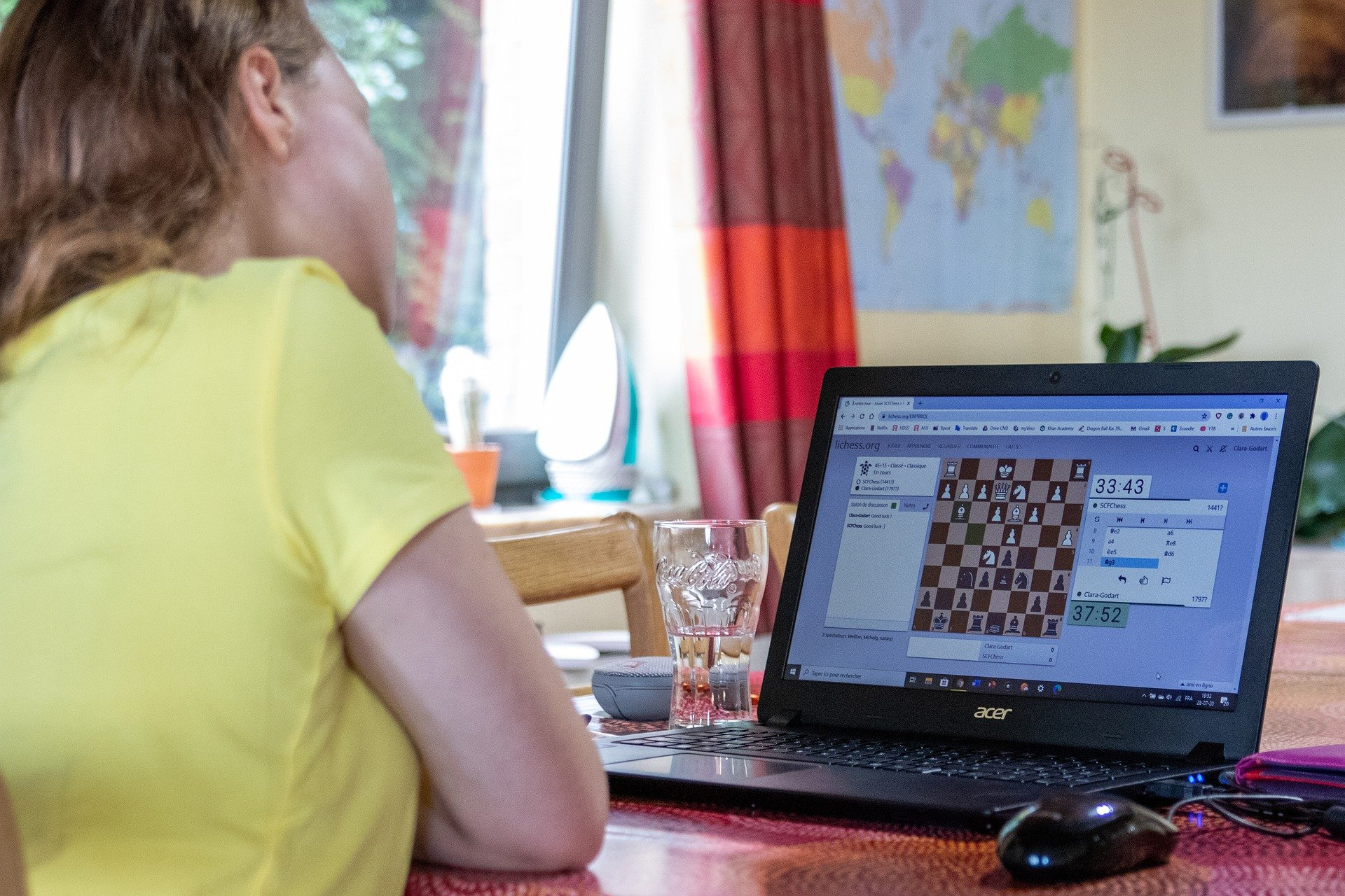 Pictured - A girl participates in an online Chess Tournament   Source: Pixabay