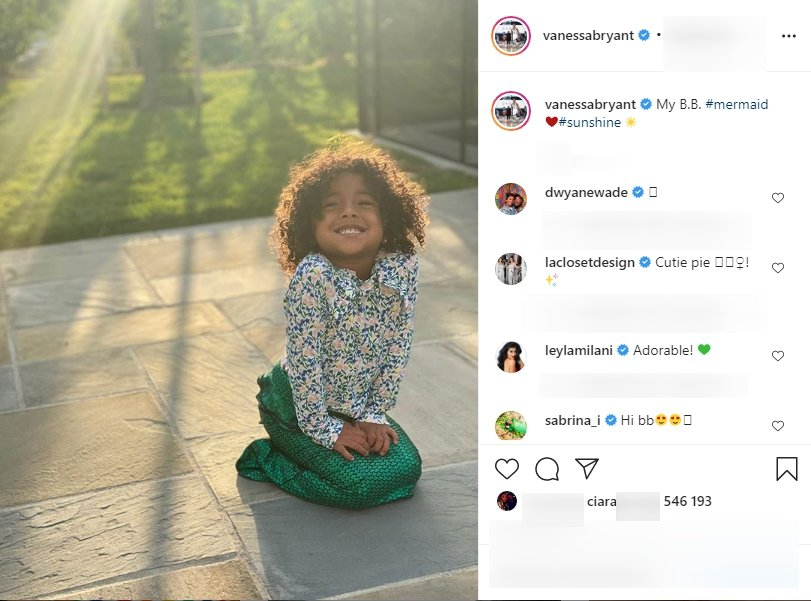 3-year-old Bianka Bella Bryant posing at her home's backyard while wearing a mermaid costume in August, 2020. I Image: Instagram/ vanessabryant