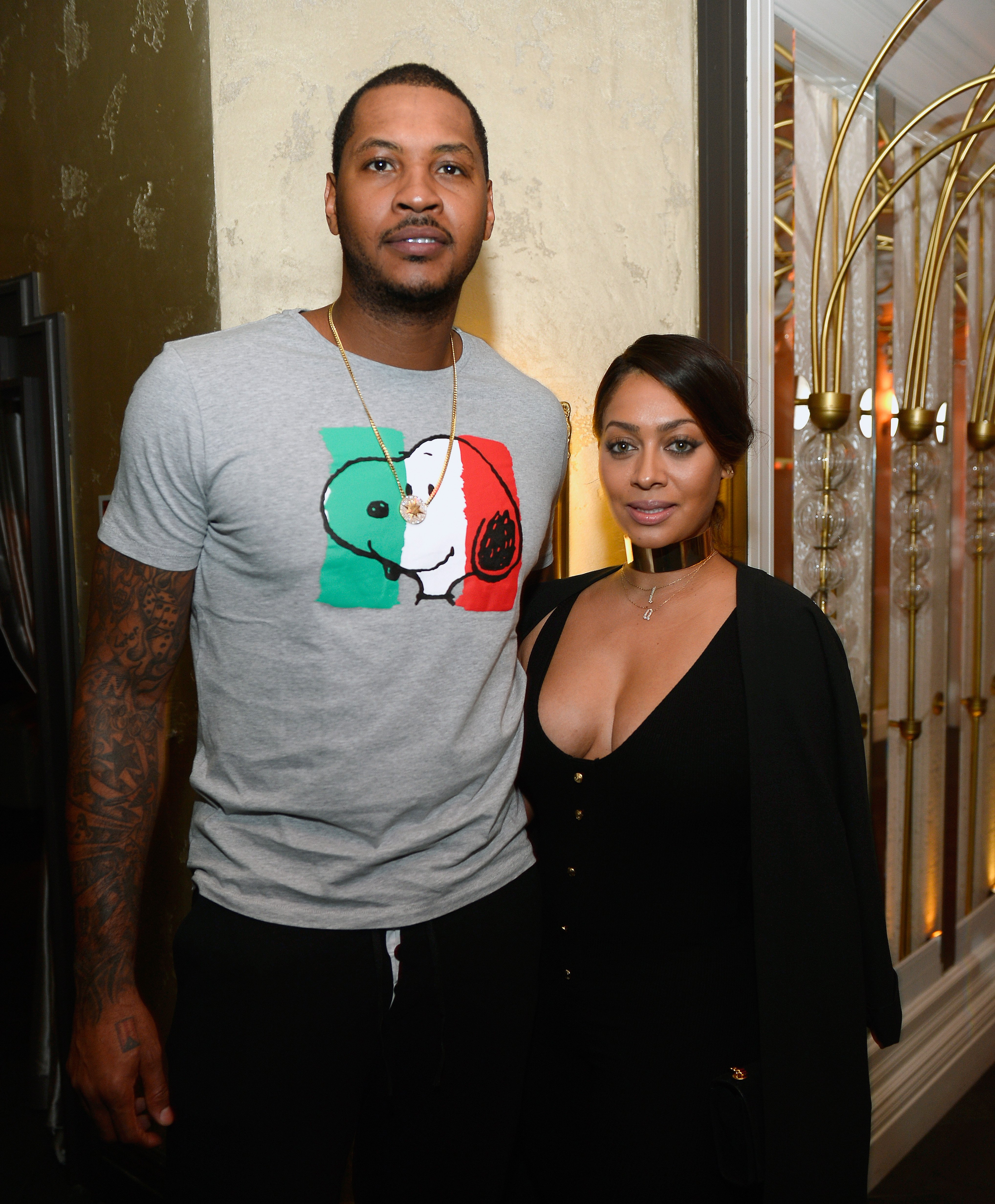 Carmelo and La La Anthony during happier times celebrating Team USA at Beauty and Essex in Las Vegas on July 22, 2016. The following year, the couple split temporarily and reunited in early 2018.