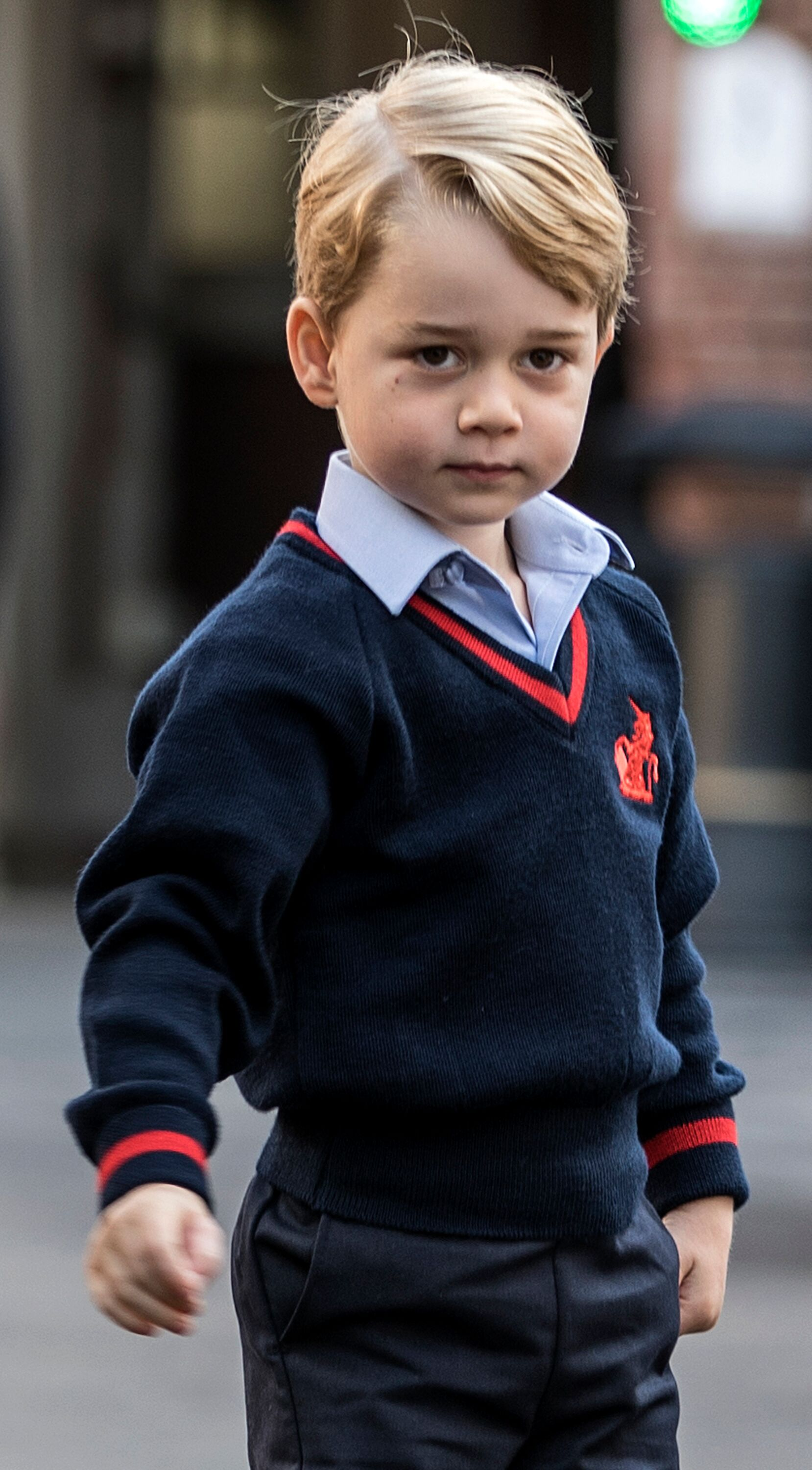 Prince George arrives for his first day of school. | Source: Getty Images