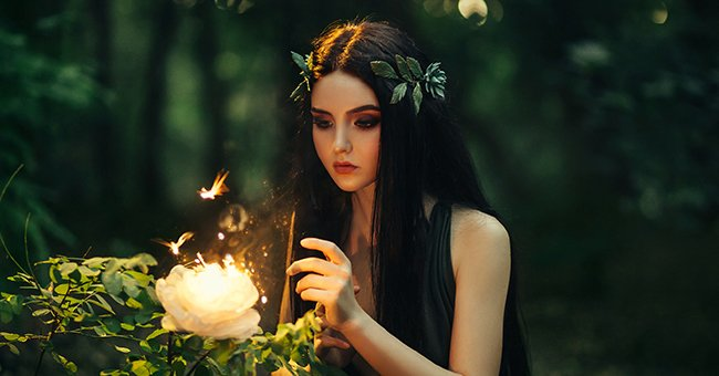A fairy in a forest with a magical flower.   Photo: Shutterstock