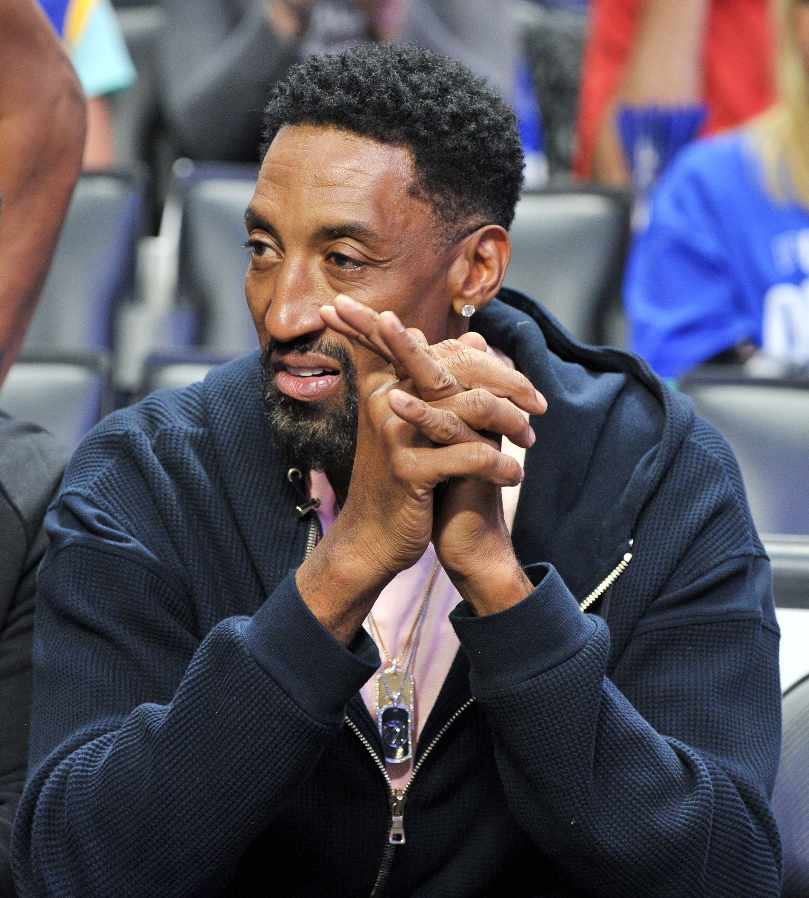 Former pro baller Scottie Pippen attends an NBA playoffs basketball game between the Los Angeles Clippers and the Golden State Warriors at the Staples Center on April 18, 2019. | Photo: Getty Images