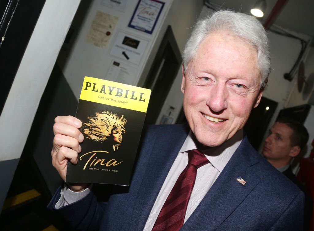 """Bill Clinton poses backstage at the hit musical """"TINA – The Tina Turner Musical"""" on Broadway at The Lunt Fontanne Theatre on January 30, 2020 