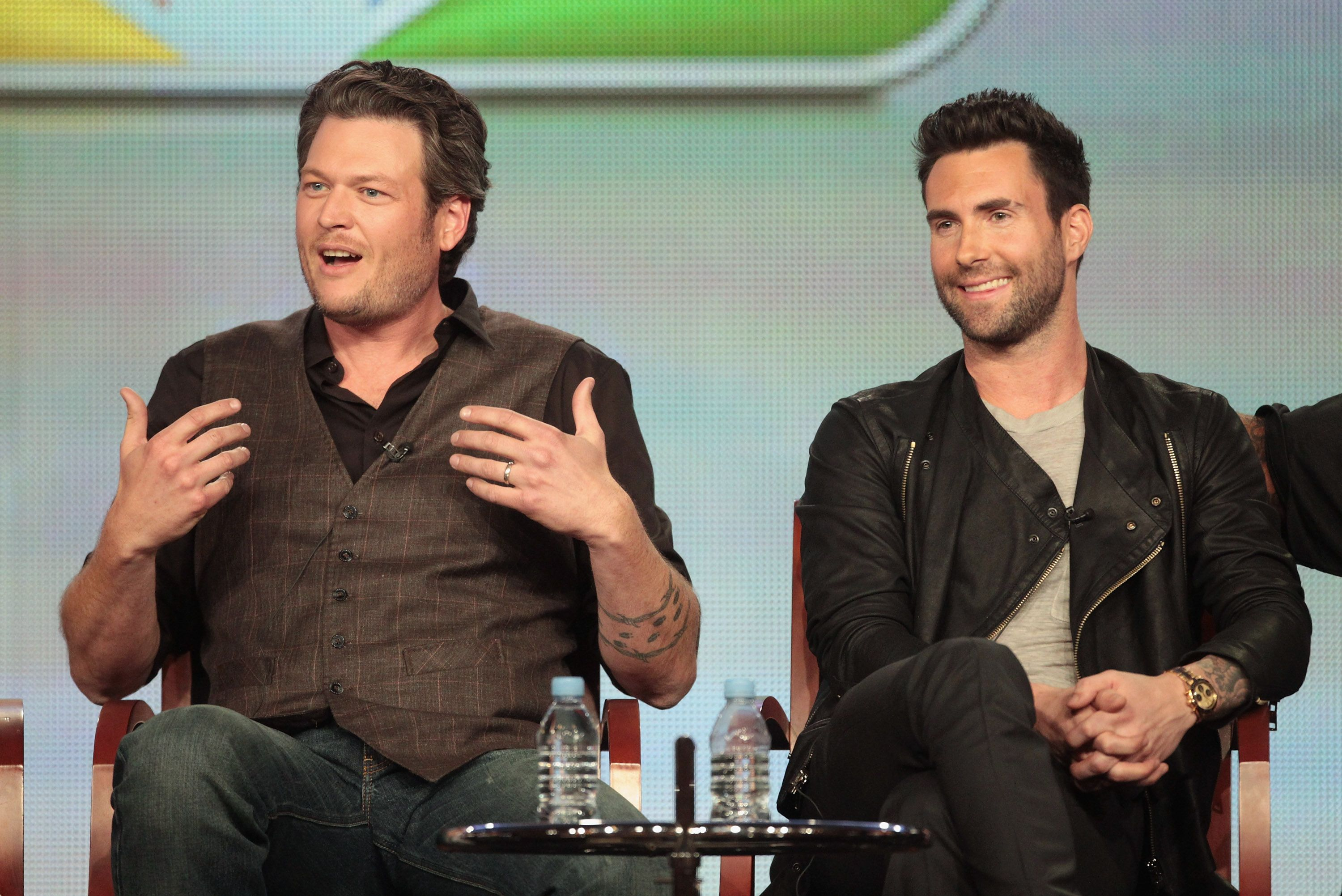 "Blake Shelton and Adam Levine  during a ""The Voice"" panel discussion in 2012 