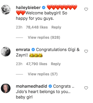 A screenshot of Hailey Beiber's comment on Gigi Hadid's post on her instagram page | Photo: instagram.com/gigihadid/