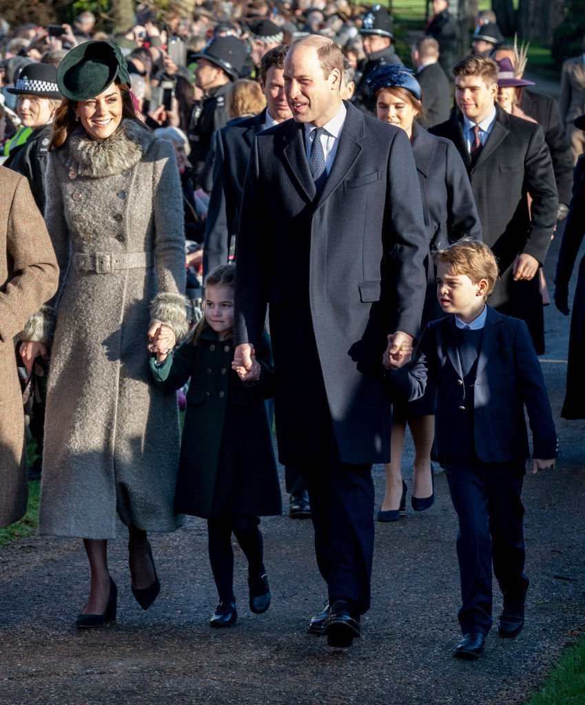Catherine, Duchess of Cambridge and Prince William, Duke of Cambridge with Prince George of Cambridge and Princess Charlotte of Cambridge attend the Christmas Day Church service at Church of St Mary Magdalene on the Sandringham estate on December 25, 2019. | Photo: Getty Images